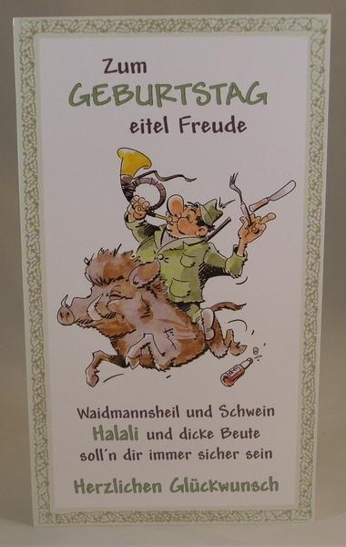 Geburtstagskarte Jäger auf Sau